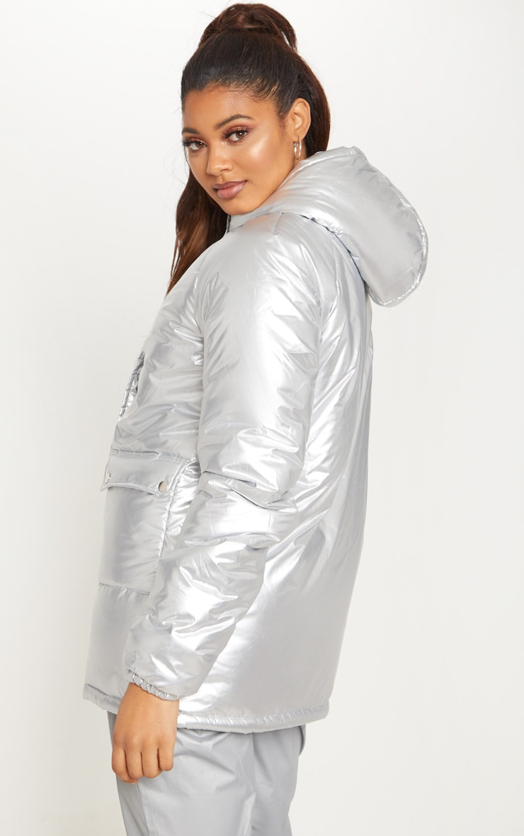 Tall Silver Metallic Puffer Coat 2