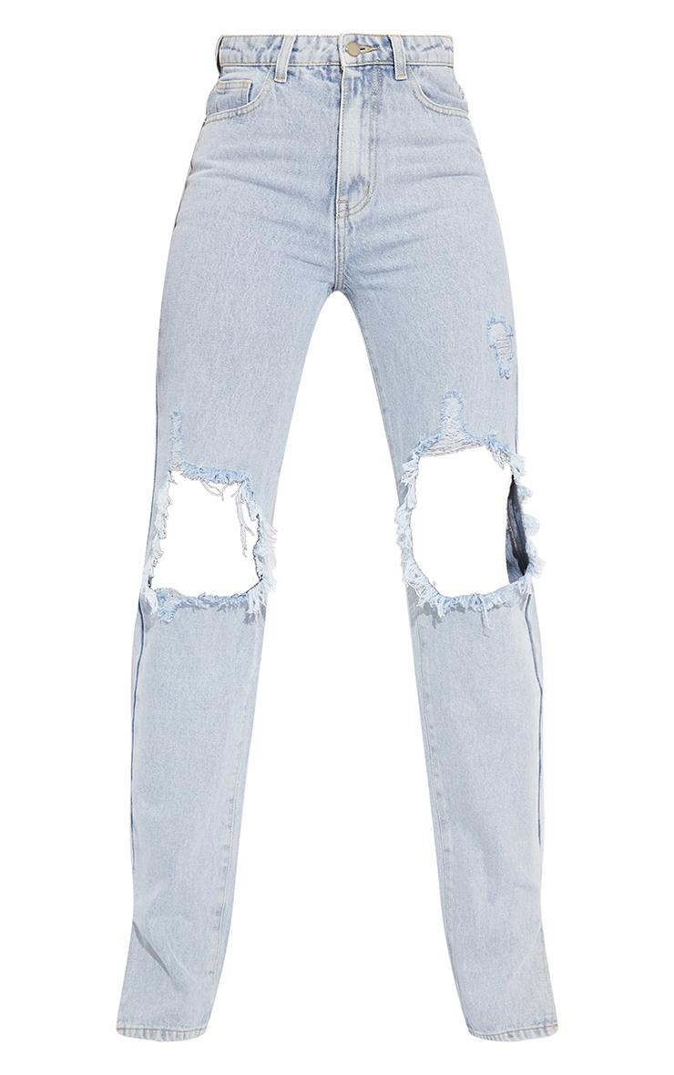 Tall Light Blue Distressed Knee Split Hem Denim Jean 5