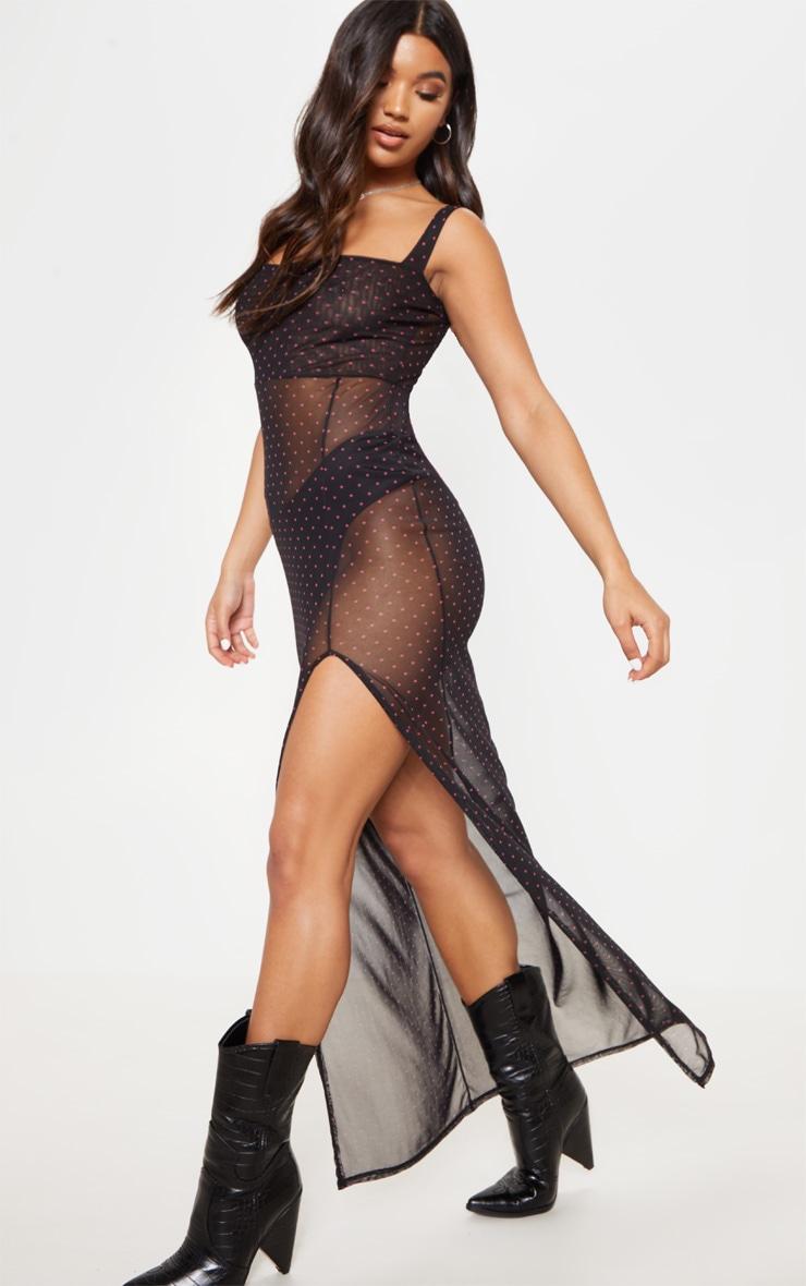 Black Polka Dot Sheer Mesh Strappy Split Maxi Dress 3