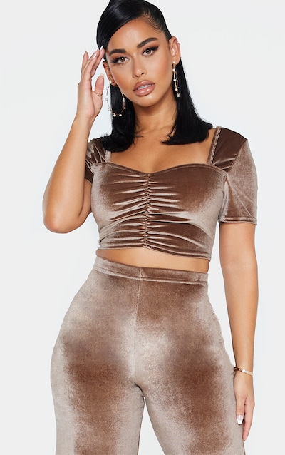 Shape Mocha Velvet Ruched Front Short Sleeve Crop Top