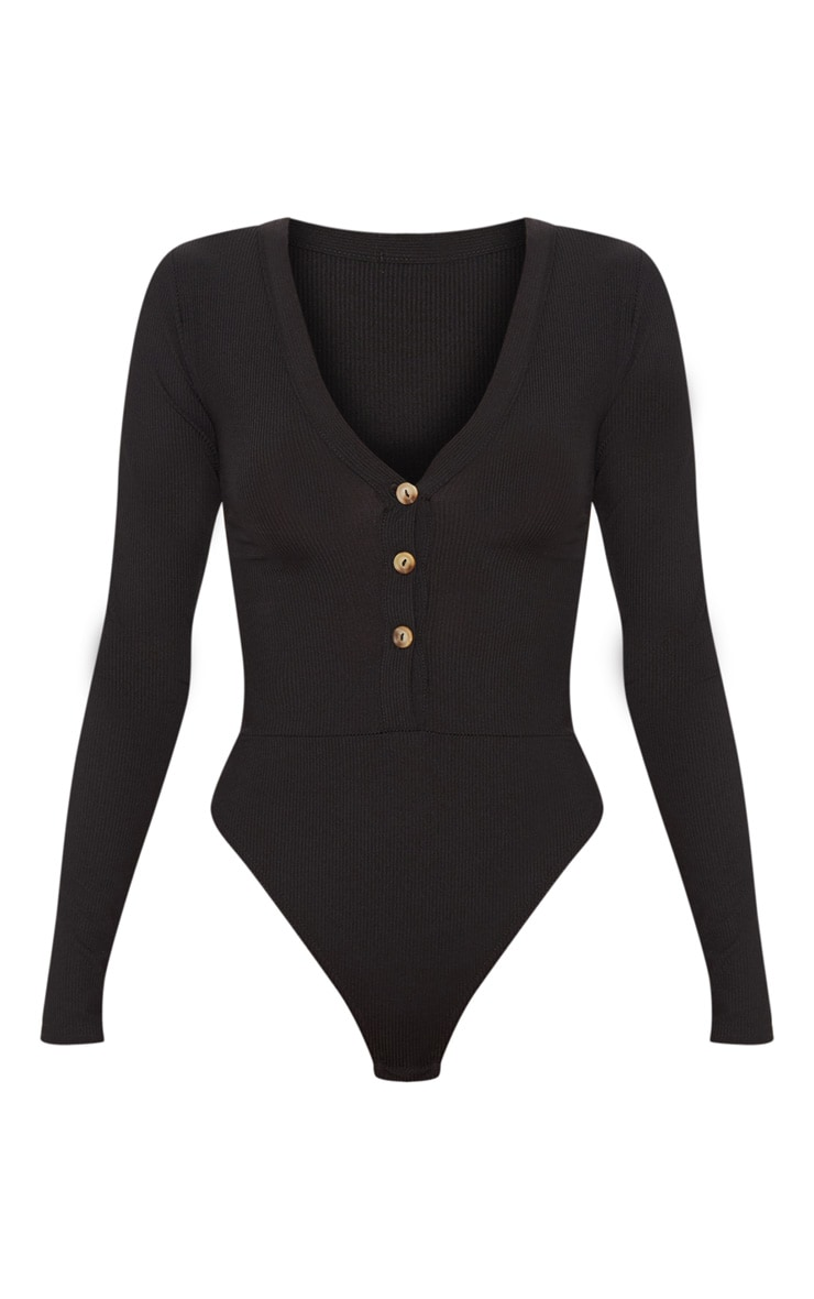 Black Long Sleeve Button Detail Bodysuit 3