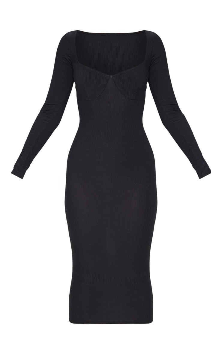 Black Ribbed Long Sleeve Cup Detail Midi Dress 3