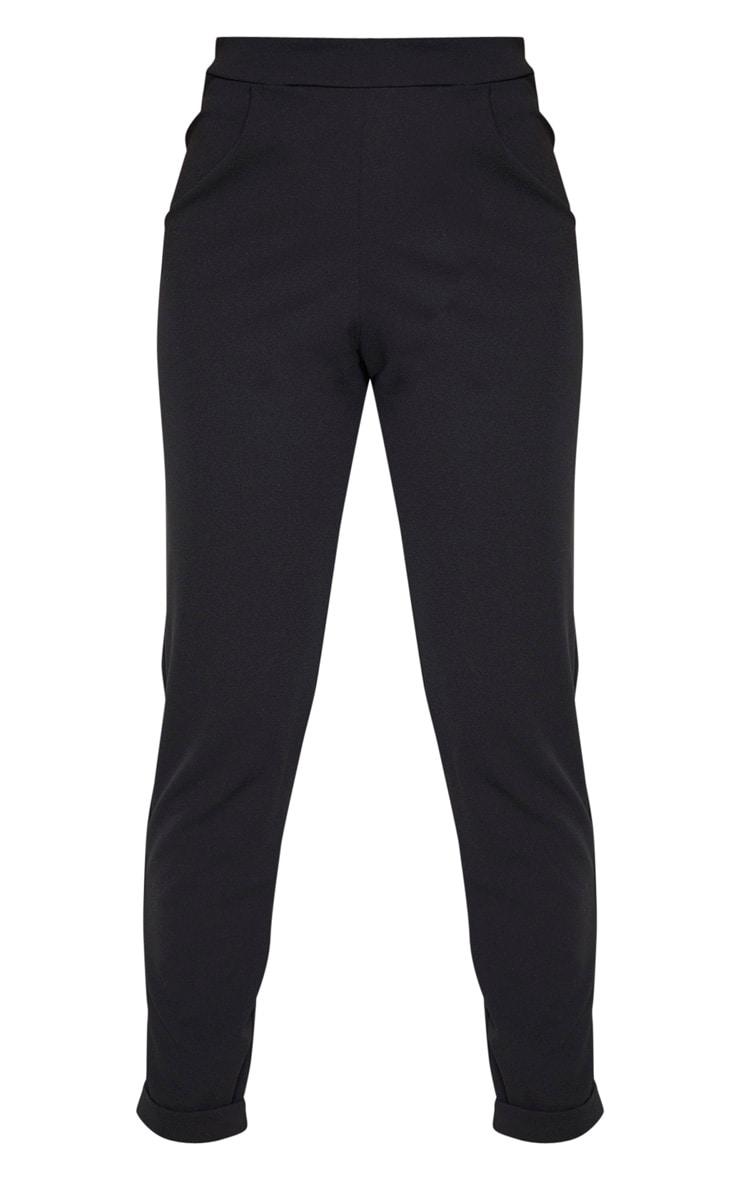 Tall Black Basic Roll Cuff Crepe Pants  3