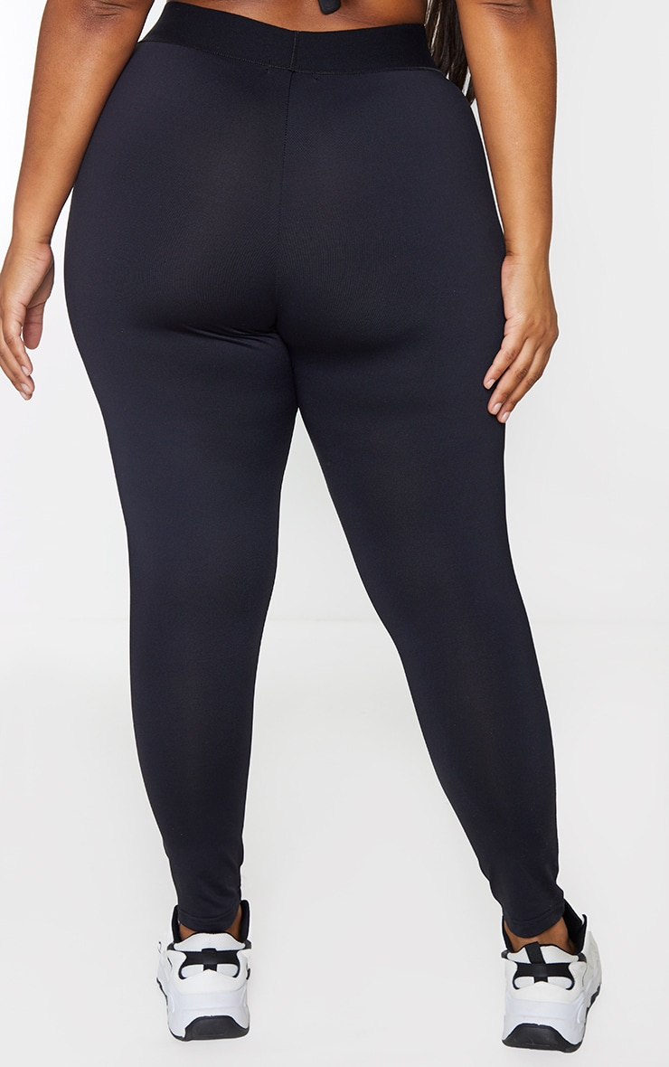 PRETTYLITTLETHING Plus Black Monochrome Gym Leggings 3