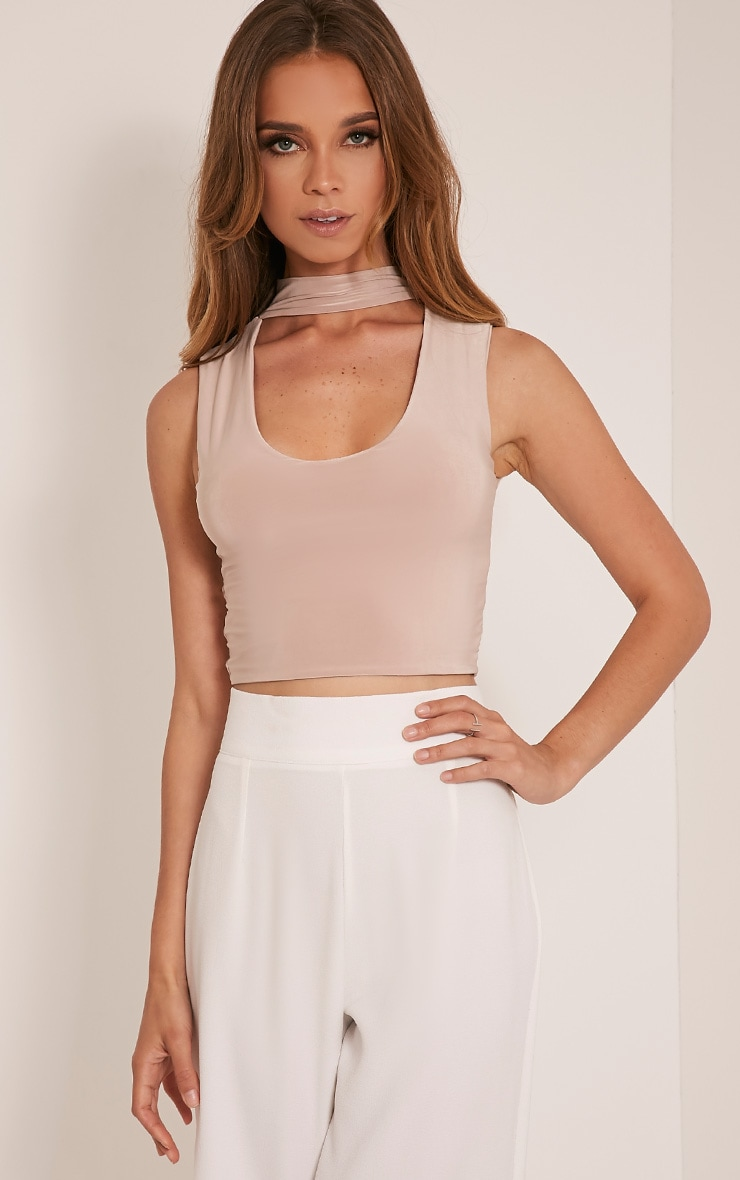 Melrose Stone Cut Out Neck Slinky Crop Top 1