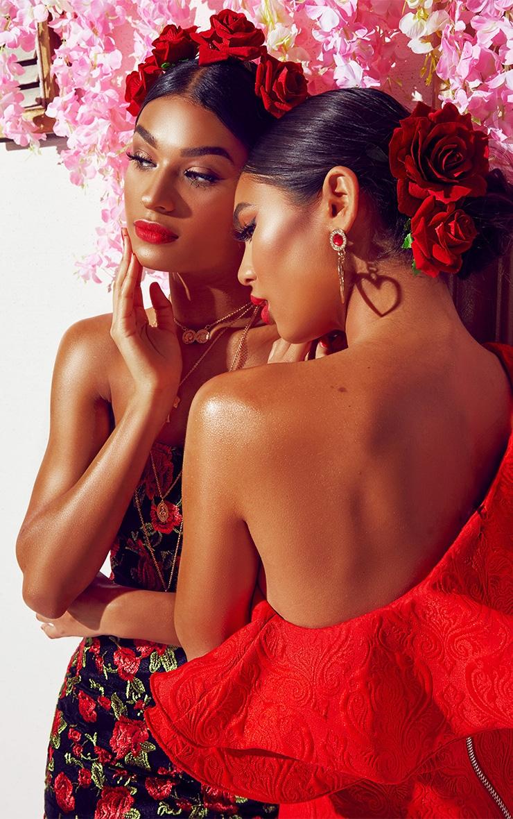 Red Jacquard One Shoulder Frill Drop Hem Dress 7