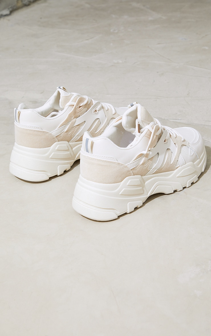 Stone Chunky Panelled Sneakers 4