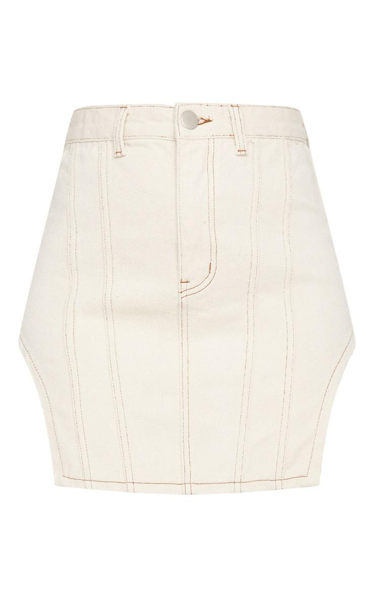 Ecru Contrast Stitch Cut Out Hem Denim Skirt 6