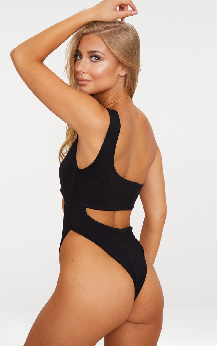Black One Shoulder Cut Out Swimsuit 2