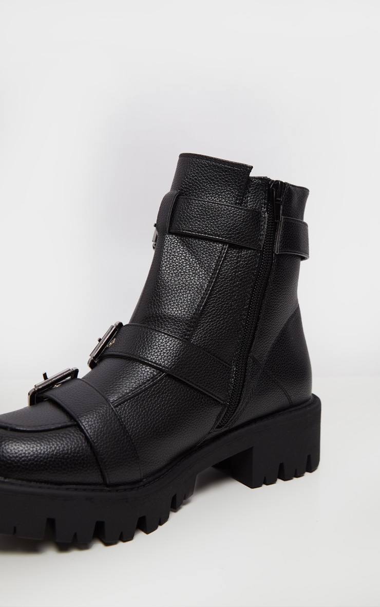 Black Triple Buckle Cleated Hiker Ankle Boot 5