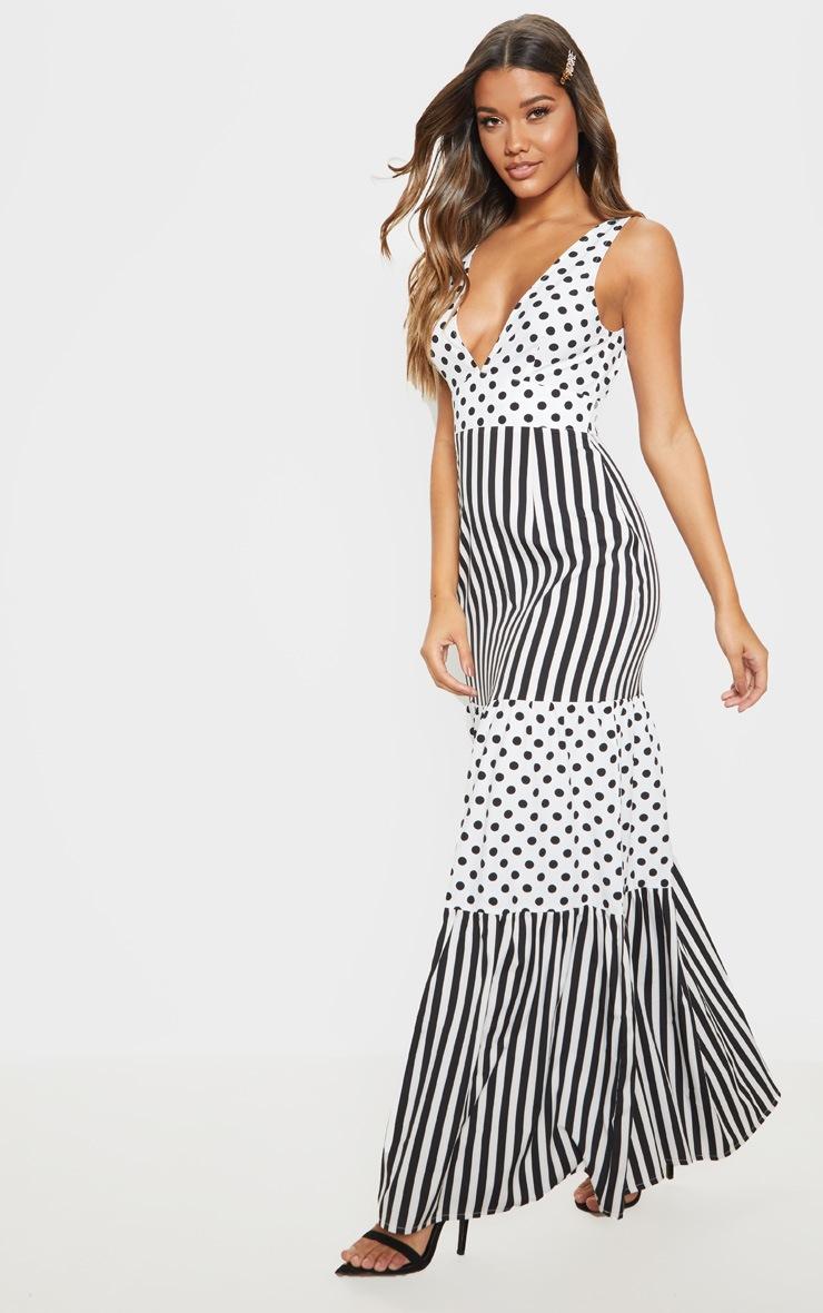 White Stripe Polka Dot Mixed Print Maxi Dress 4
