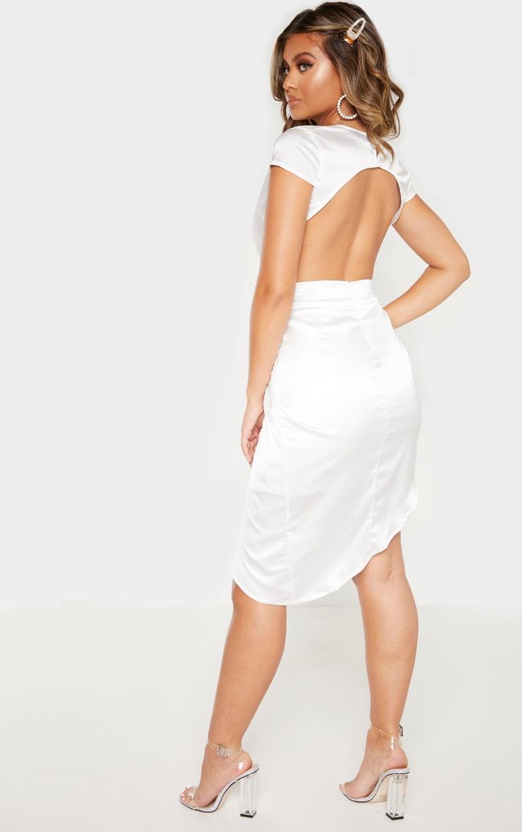 Cream Satin Knot Front Open Back Asymmetric Bodycon Dress 2
