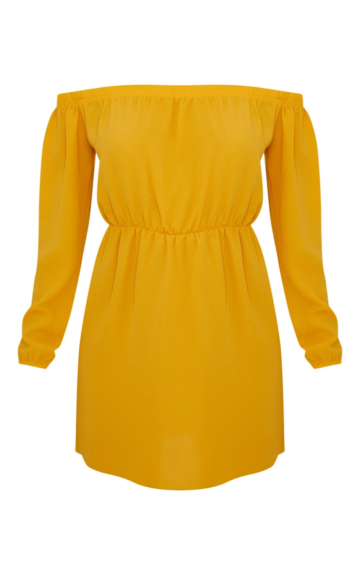 Mustard Bardot Puff Sleeve Skater Dress 3