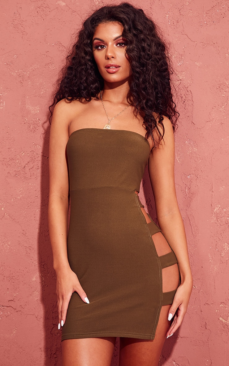 Khaki Split Side Bandeau Bodycon Dress