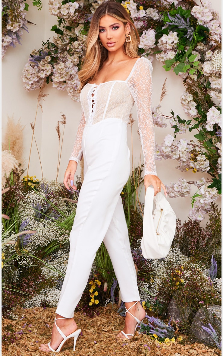 White Lace Up Lace Bodice Jumpsuit