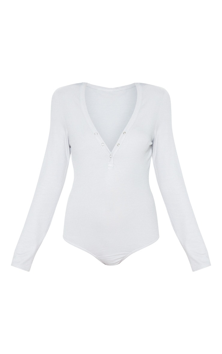 Grey Long Sleeve Popper Detail Thong Bodysuit 3