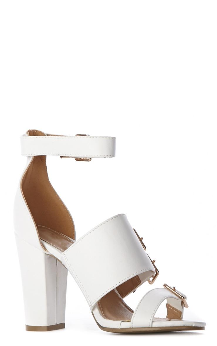 Faye White Buckle Heels-8 3