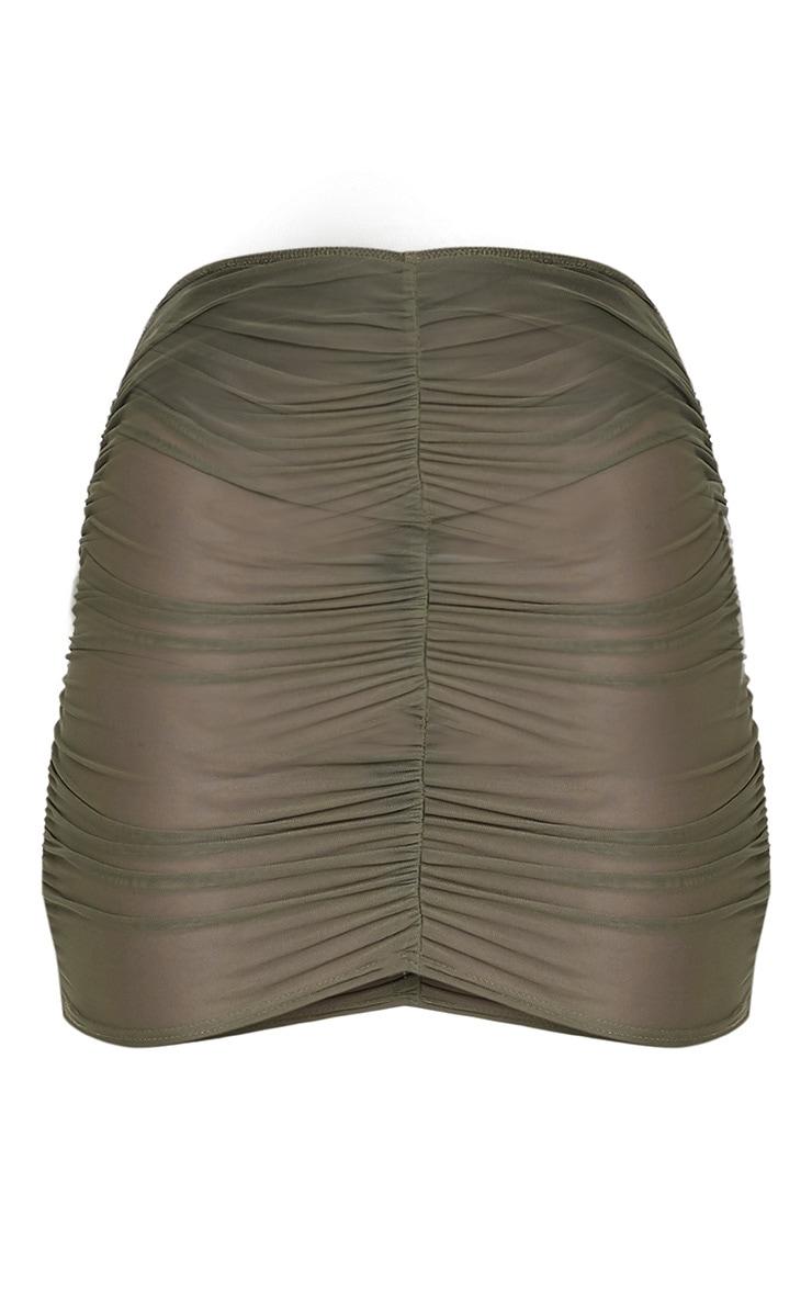 Chelle Khaki Ruched Sheer Mini Skirt 3