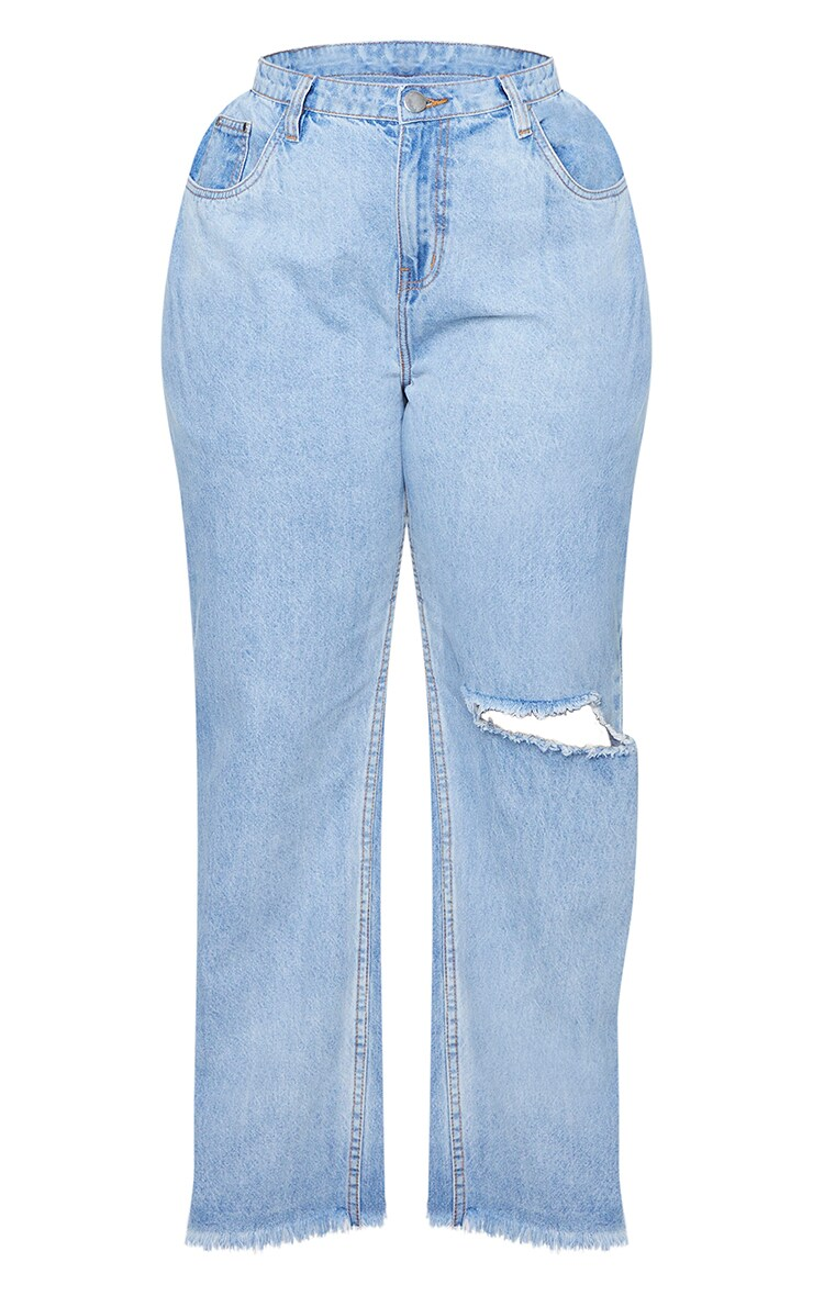 Plus Vintage Knee Rip Wide Leg Fray Hem Jeans 5