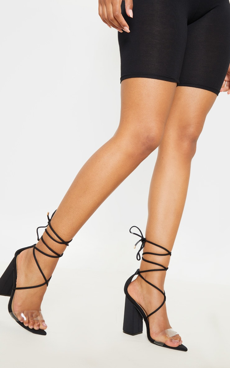 Black Ankle Lace Up Block Heel Point Toe Sandal 1