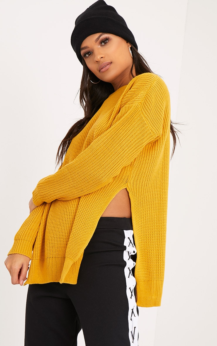 Rexx Mustard Round Neck Side Split Jumper 1