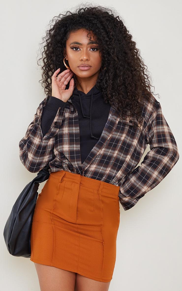 Rust Woven Seam Detail Mini Skirt 4