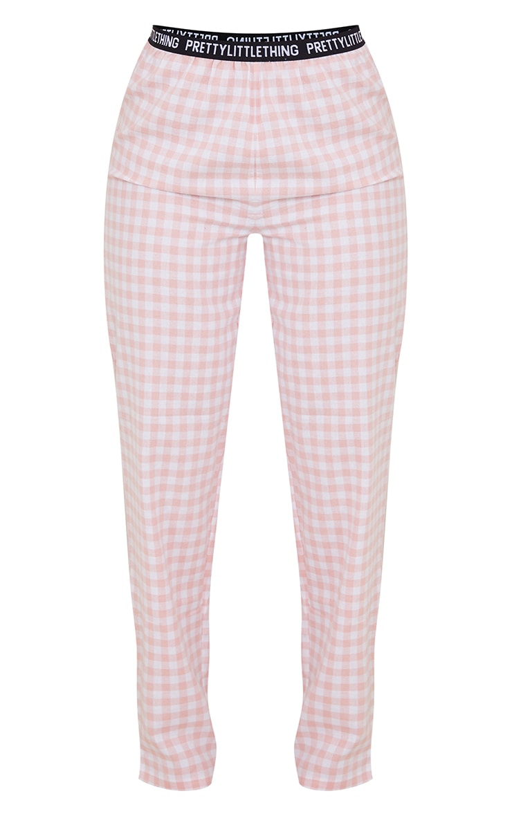 PRETTYLITTLETHING Pale Pink Taping Detail Mix And Match Check PJ Trousers 5