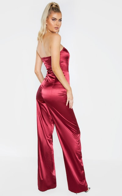 Tall Burgundy Satin Bandeau Jumpsuit