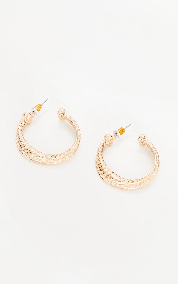 Gold Textured Twist Chunky Hoop Earrings 2