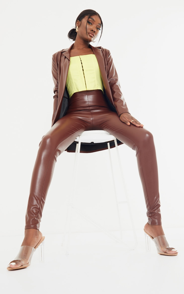 Tall Chocolate Drop Collar Faux Leather Blazer 3