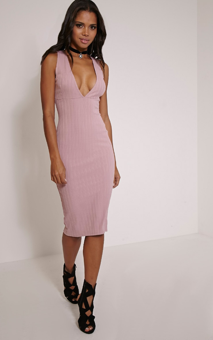 Isidora Mauve Ribbed Deep V Midi Dress 4