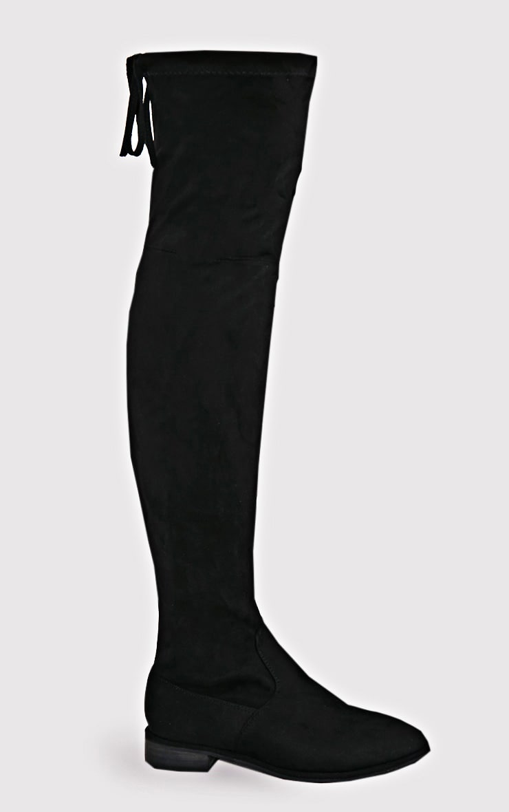 Hillary Black Faux Suede Over The Knee Flat Boots 2