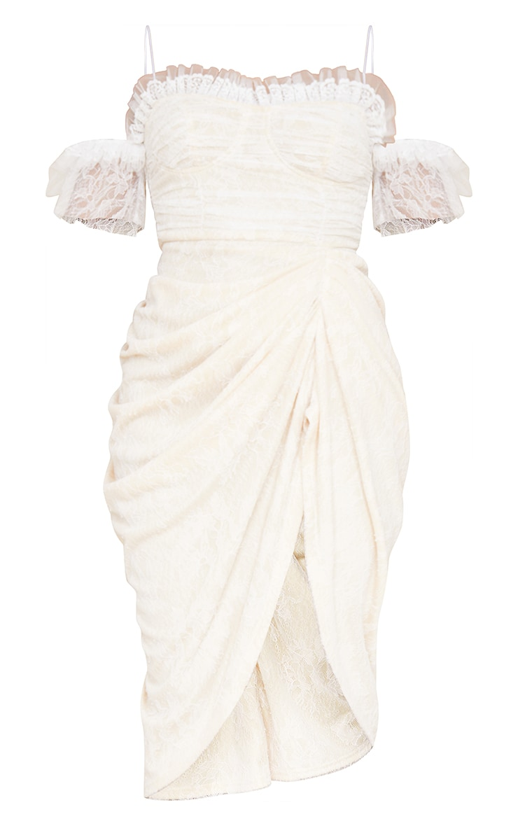 White Lace Frill Sleeve Draped Midi Dress 5