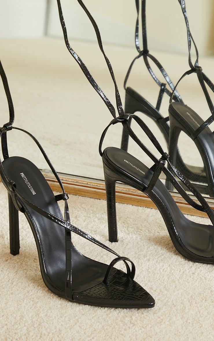 Black Croc PU Point Toe Strappy Heeled Sandals 3