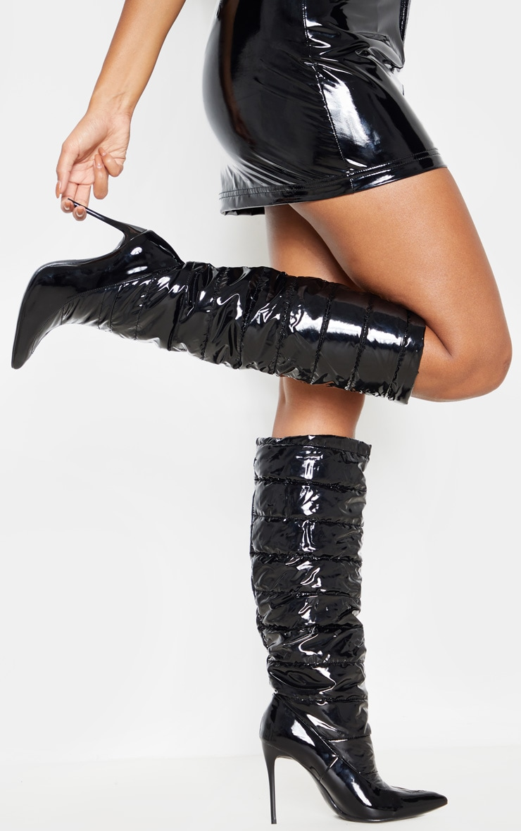 Black Quilted High Shine Knee Boot 2