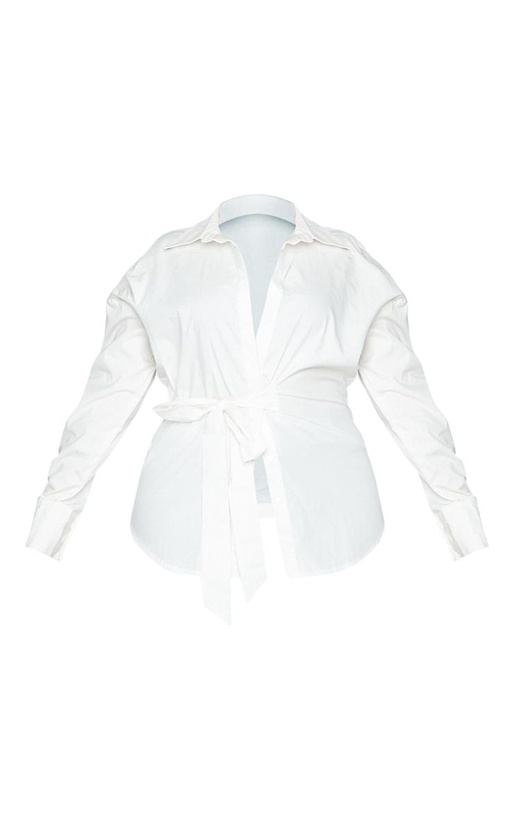 Plus White Tie Side Detail Poplin Shirt 5