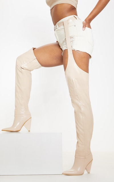 Nude Belted Thigh High Western Boot