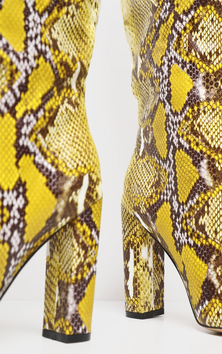 Yelllow Snake Knee High Point Block Heel Boot 4