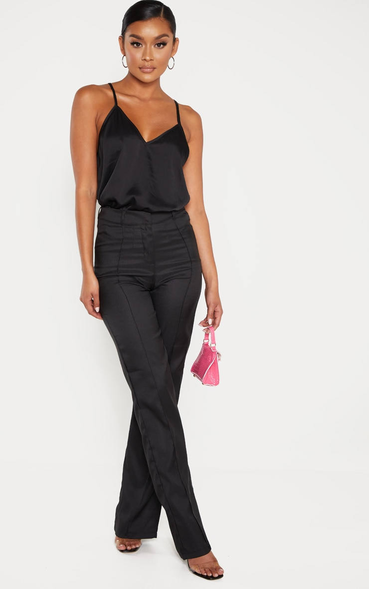 Black Satin V Neck Cami 4
