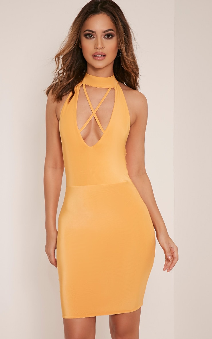 Gabby Pastel Orange Choker Cross Front Bodycon Dress 1