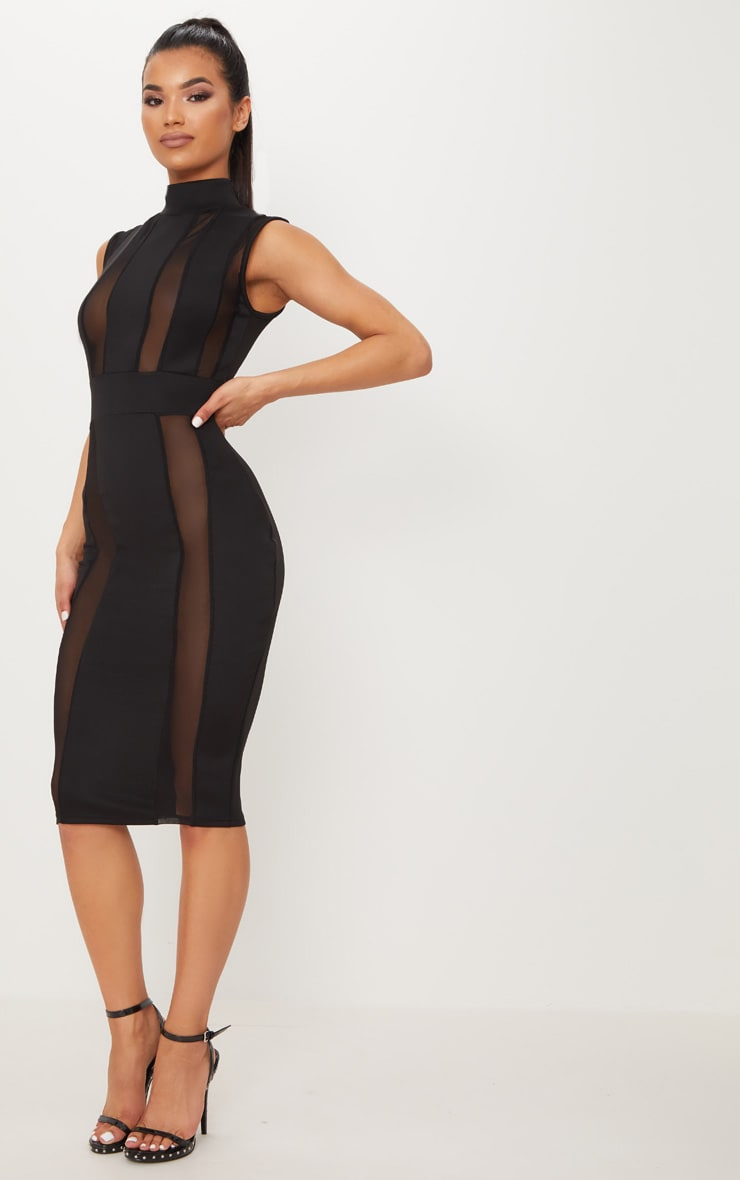 Black High Neck Mesh Insert Sleeveless Bodycon Dress 3