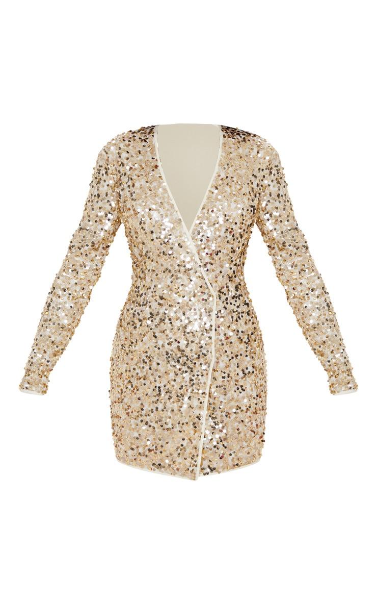 Gold Sequin Long Sleeve Blazer Dress 3
