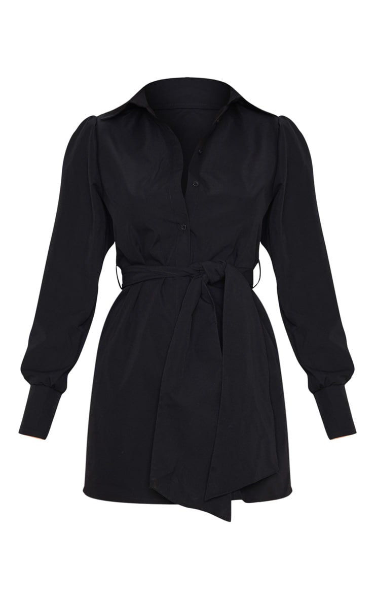 Black Puff Shoulder Long Sleeve Belt Detail Shirt Dress 5