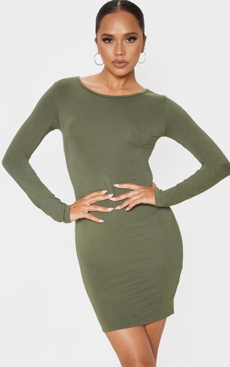 Khaki Jersey Long Sleeve Bodycon Dress 4