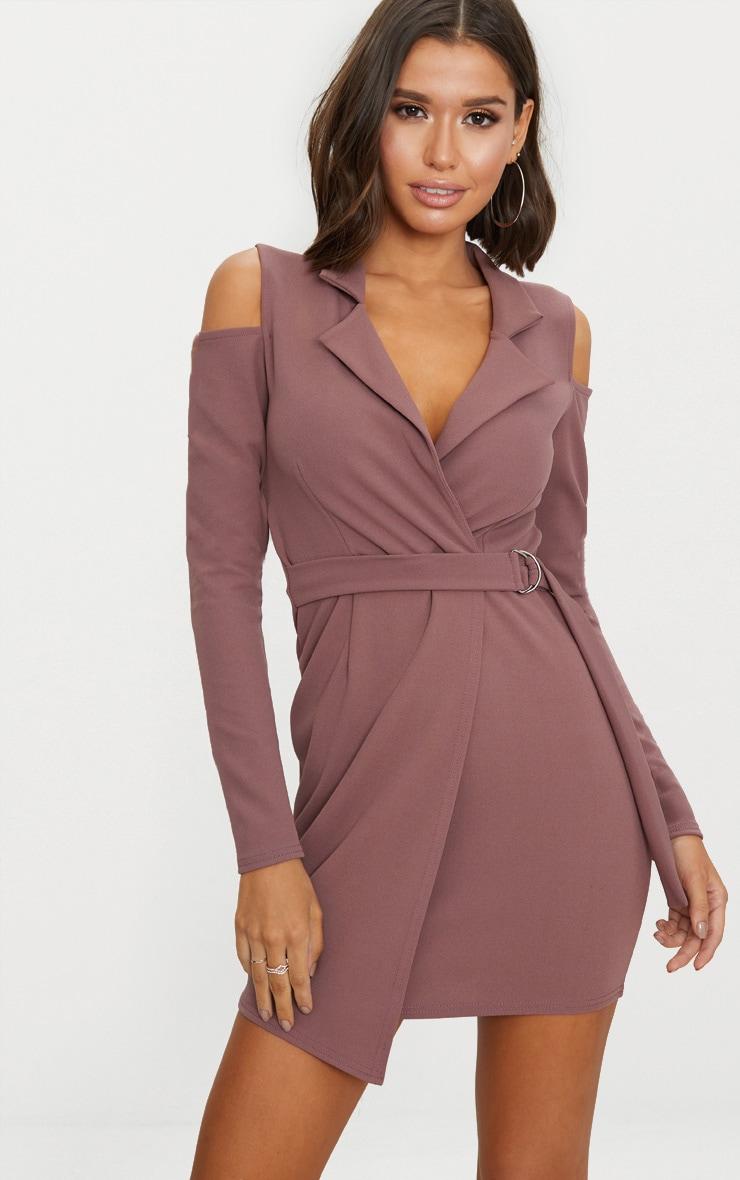 Dark Mauve Cold Shoulder Blazer Dress 1