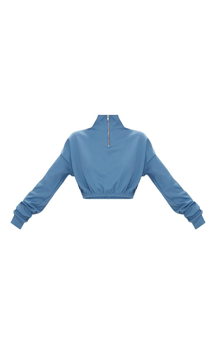 Blue Rib Zip Front Long Sleeve Sweater  3