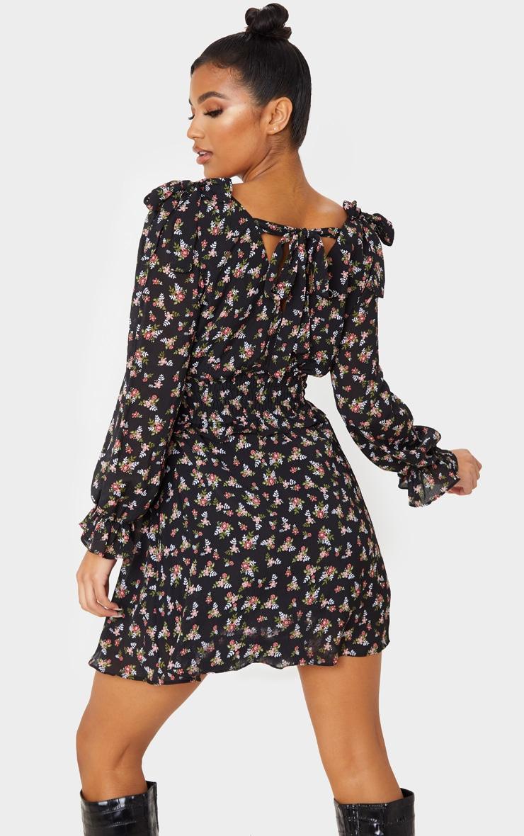 Black Floral Print Bow Detail Shirred Waist Shift Dress 2