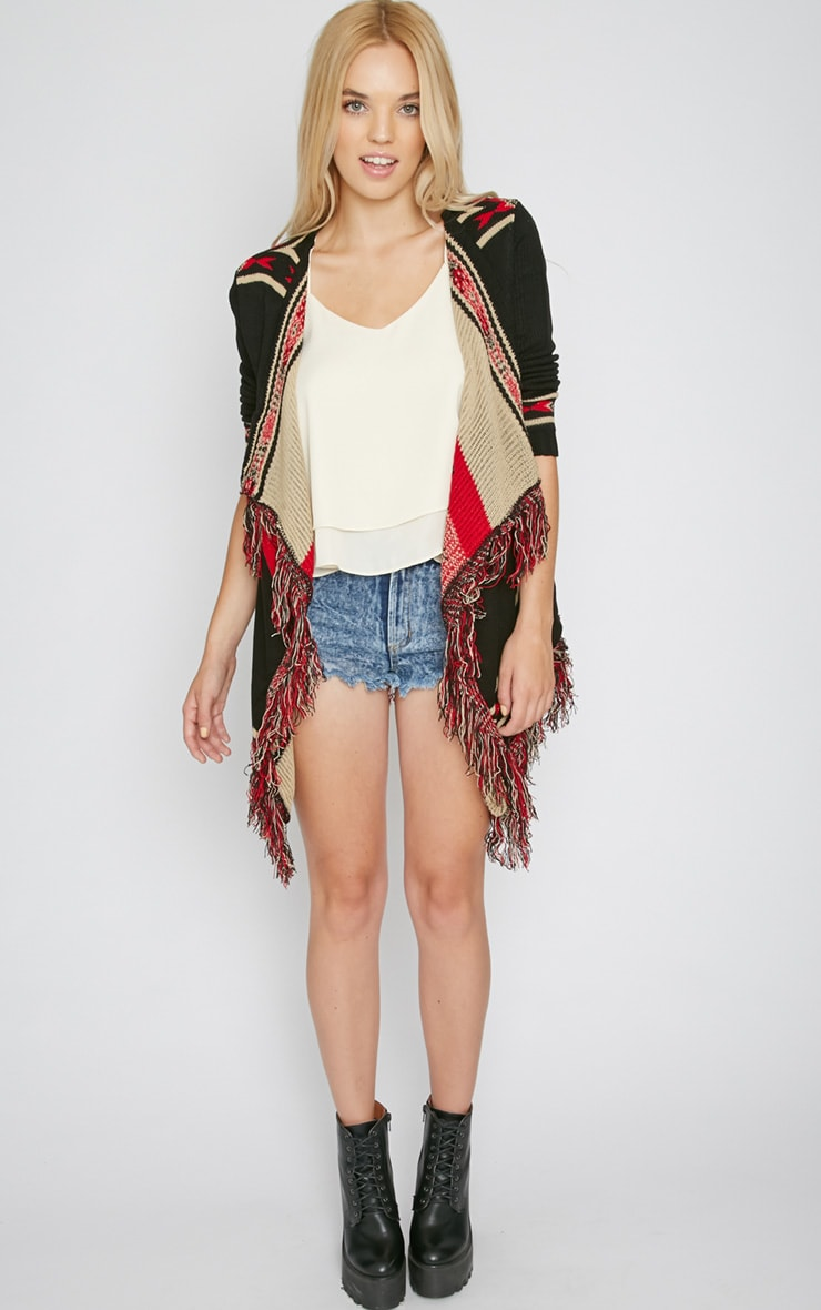 Caley Black & Red Aztec Knit Chunky Cardigan 3