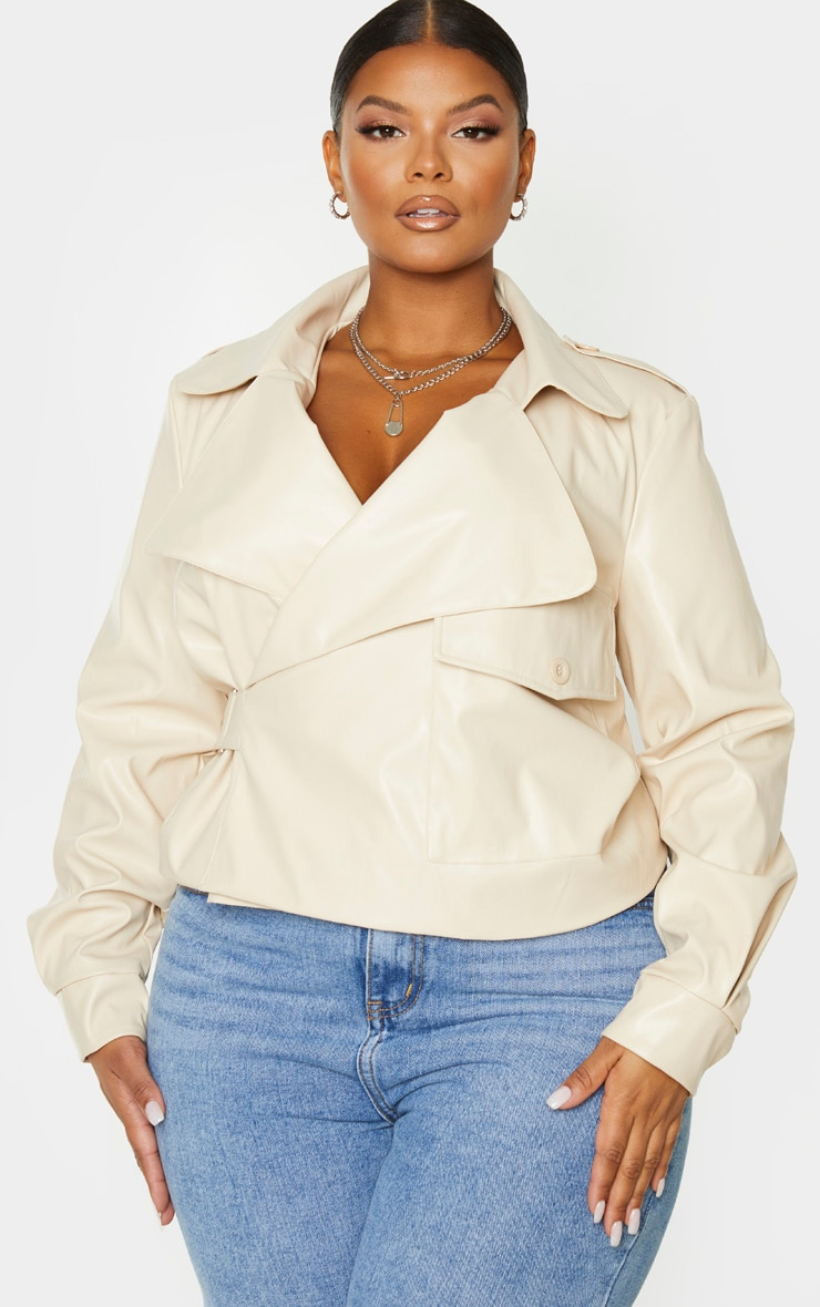 Plus Cream PU Buckle Detailed Biker Jacket 1