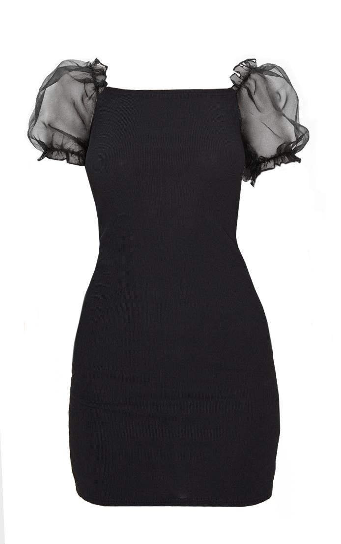 Black Organza Puff Sleeve Ribbed Bodycon Dress 3